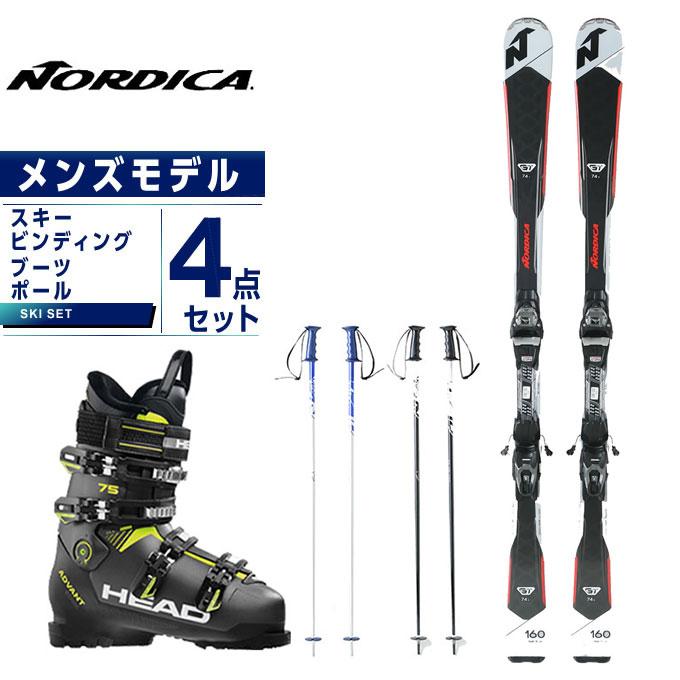 ノルディカ NORDICA スキー板 4点セット メンズ スキー板+ビンディング+ブーツ+ストック GT74R FDT +TP2 10FDT +ADVANT EDGE 75 +SLALOM