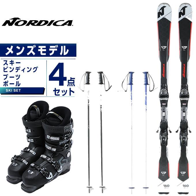 ノルディカ NORDICA スキー板 4点セット メンズ スキー板+ビンディング+ブーツ+ストック GT74R FDT +TP2 10FDT