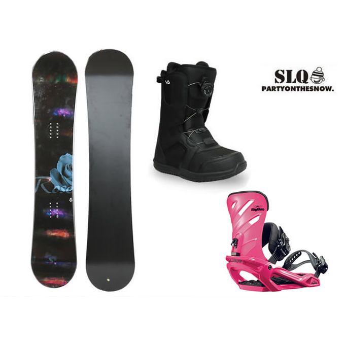 エスエルキュー SLQ スノーボード 3点セット レディース ROSE ROCKER+RHYTHM PK+SUPERB ボード+ビンディング+ブーツ