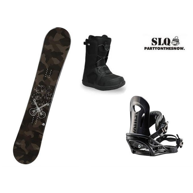 エスエルキュー SLQ スノーボード 3点セット メンズ CAMO ROCKER+PR BK+SUPERB ボード+ビンディング+ブーツ