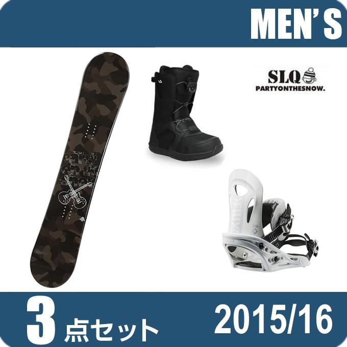 エスエルキュー SLQ スノーボード 3点セット メンズ CAMO ROCKER+PR WH+SUPERB ボード+ビンディング+ブーツ