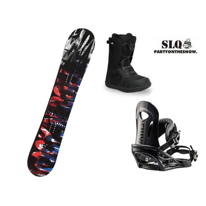 エスエルキュー SLQ スノーボード 3点セット メンズ SCOOP FLAT+PR BK+SUPERB ボード+ビンディング+ブーツ