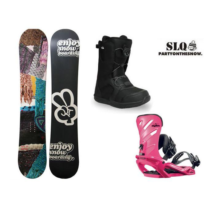 エスエルキュー SLQ スノーボード 3点セット レディース KNITTING FLAT+RHYTHM PK+SUPERB ボード+ビンディング+ブーツ