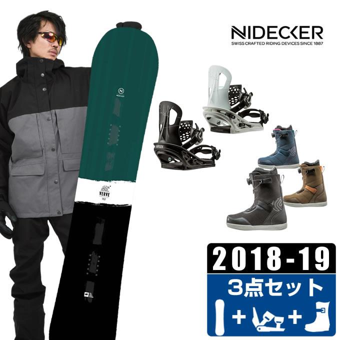 ナイデッカー NIDECKER スノーボード 3点セット メンズ VERVE GREEN + TT + FL-BOA ボード+ビンディング+ブーツ