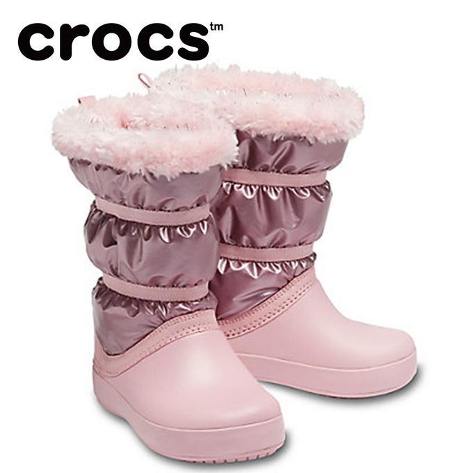 クロックス スノーブーツ ジュニア Girls' Crocband LodgePoint Metallic Winter Boot 205829-6SF crocs od