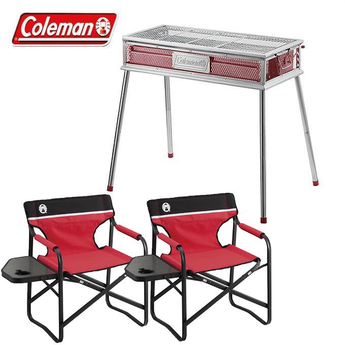 コールマン Coleman バーベキューグリル クールスパイダープロ/L レッド + サイドテーブルデッキチェアST レッド 2個 2000010394 + 2000017005 od
