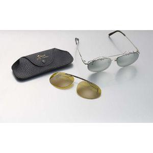 クリップオン偏光サングラス 2色セット サングラス UVカット 紫外線 らくらく ラクラク