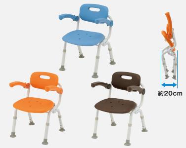 【介護 椅子】【介護用 風呂椅子】 パナソニックシャワーチェアー[ユクリア]コンパクトサポートタイプ(おりたたみ) オレンジ/ブルー 《入浴用品》