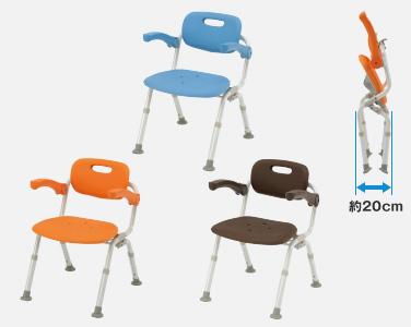 【介護 椅子】【介護用 風呂椅子】 パナソニックシャワーチェアー[ユクリア]ミドルSPワンタッチおりたたみNオレンジ/ブルー/モカブラウン 《入浴用品》