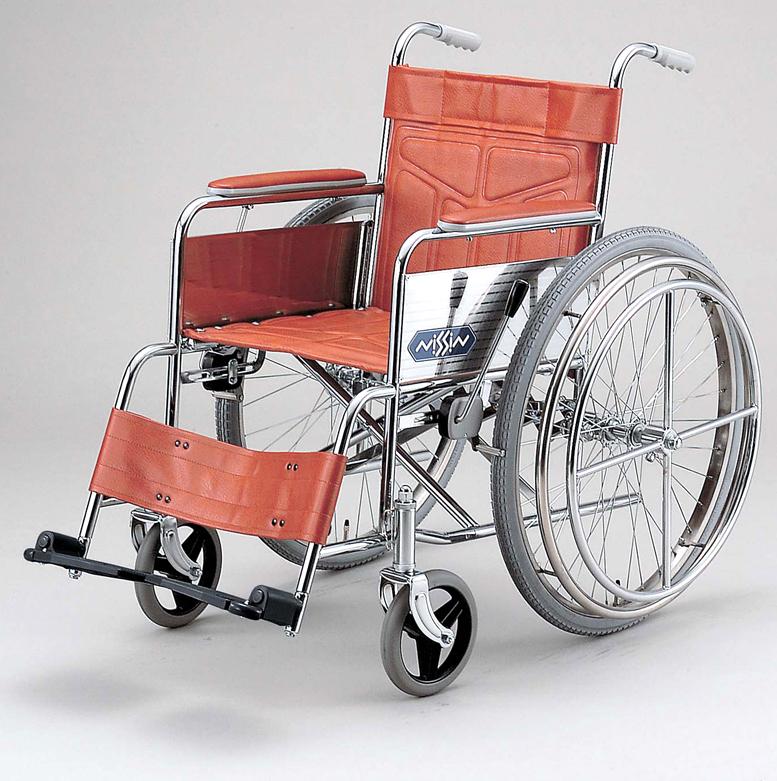 【片マヒの方に!】ND-19 日進医療器片手操作式のスチール製自走用車椅子