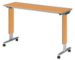 パラマウントベッド製テーブル移動ロック機能なしオーバーベッドテーブル(色:ミディアムオーク)KF-832