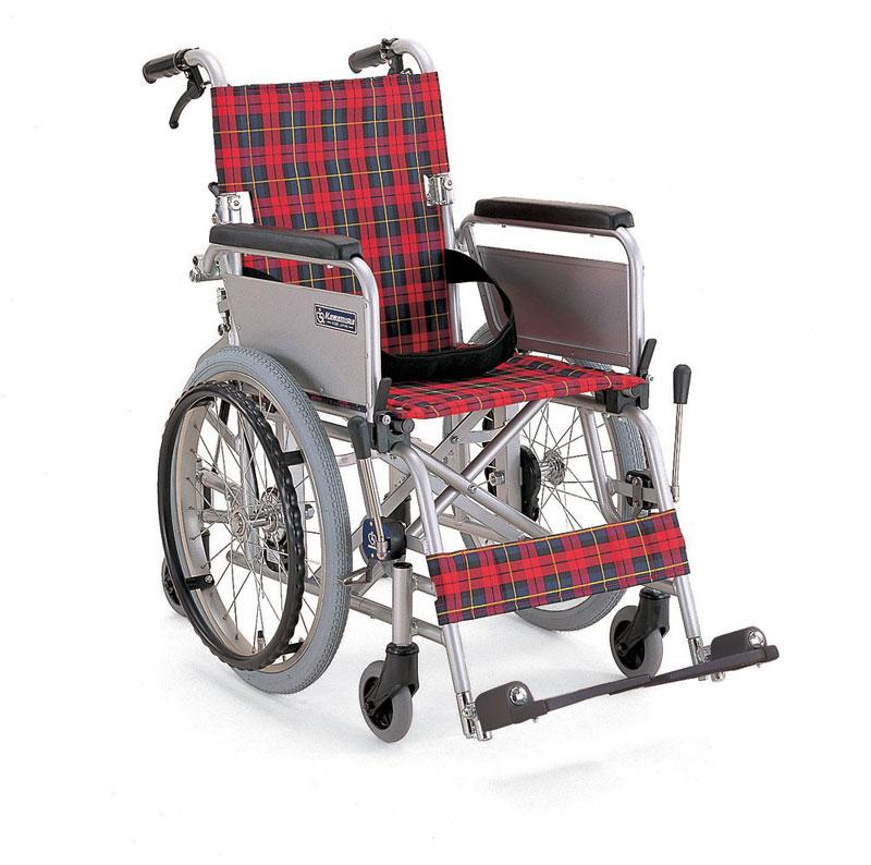 カワムラサイクル社製KAK18-40Bアルミ製自走用車椅子こまわりくん六輪車バンド式介助ブレーキ装備