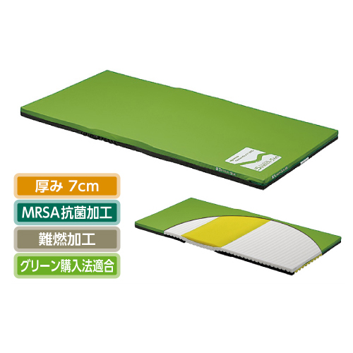(介護ベッド用)パラマウントベッドストレッチスリムマットレス 清拭タイプ[91cm(幅)×191cm(長)×7cm(厚)](スタンダードマットレス)