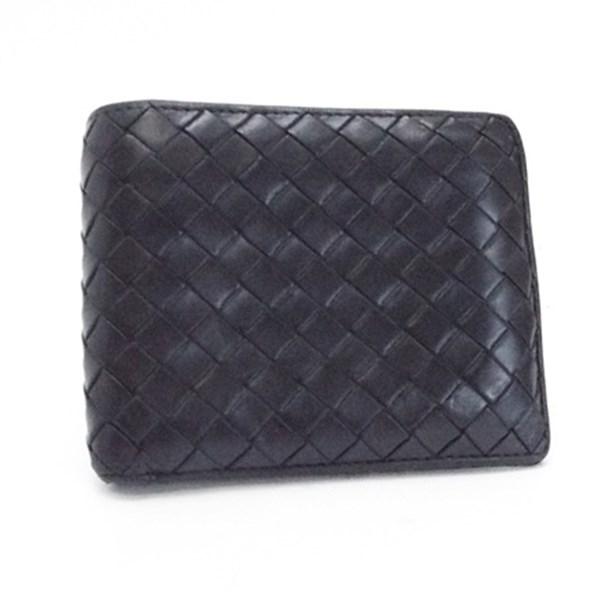 ボッテガヴェネタ イントレチャート 二つ折り財布 レザー ブラック 193642 V4651 中古 Bランク BOTTEGA VENETA メンズ