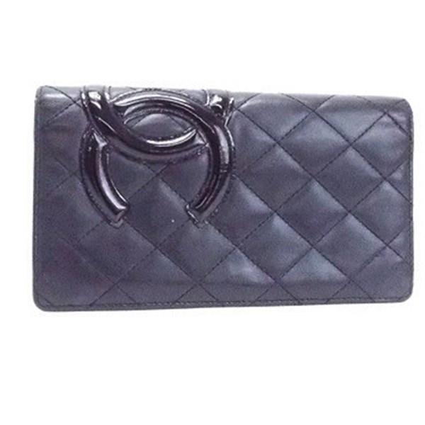 シャネル カンボンライン 二つ折り長財布 ブラック×ブラック 内側ピンク A26717 ココマーク 中古 ABランク CHANEL レディース