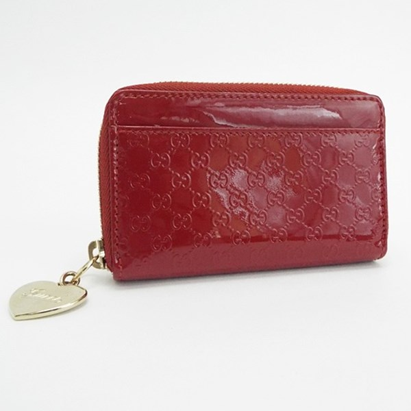 86fab3b889f8 With heart charm enamel patent leather red 268750 used A rank GUCCI Lady's  box with the Mai Gucci black Gucci sima round fastener coin case coin purse  key ...