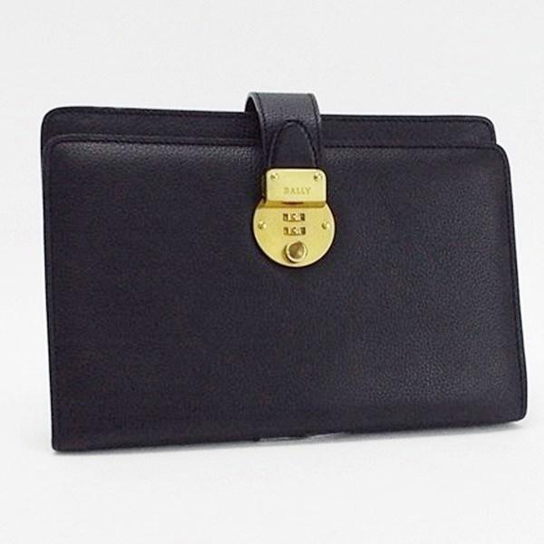 バリー セカンドバッグ クラッチバッグ レザー ダイヤル式 ブラック ゴールド金具 中古 Aランク BALLY メンズ ビジネスバッグ