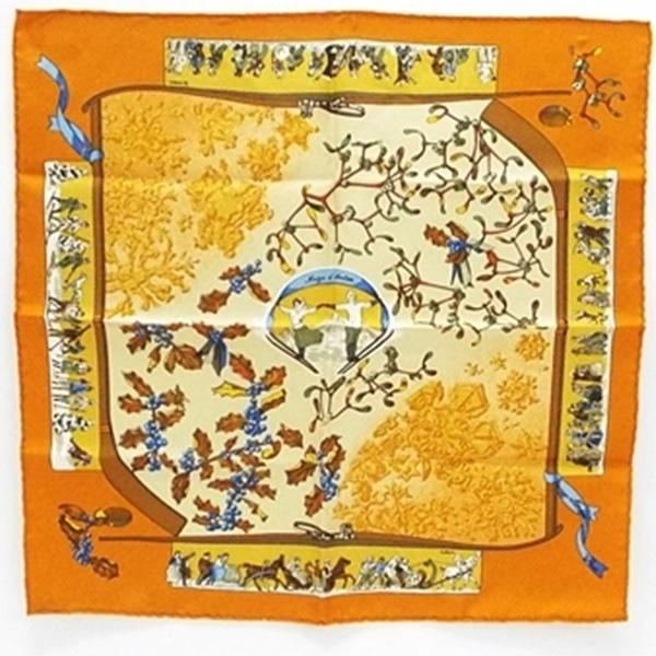 エルメス シルク ミニスカーフ カレ90 Neiged' Antan(去年の雪)オレンジ 中古 Sランク 未使用品 HERMES 【送料無料】