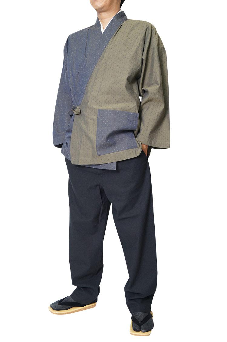 作務衣 メンズ 樹亜羅-一杢 作務衣-綿100% 碧ドット