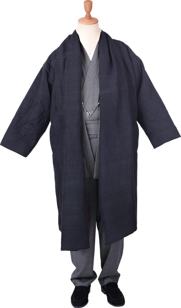 コート 冬 一杢 門-GATE シルクのキルティングコート 龍翔 黒/裏地赤1