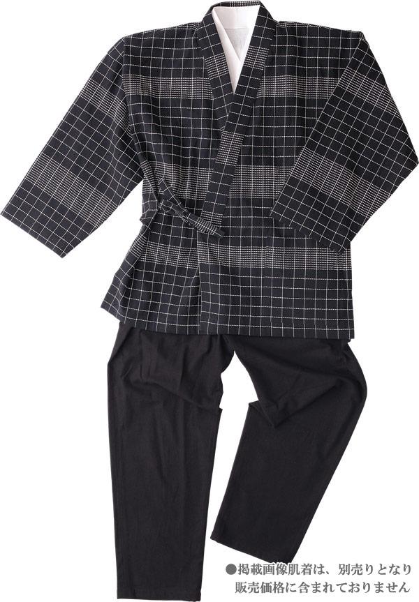 作務衣 メンズ 高級 樹亜羅-一杢 作務衣-綿100% 格子ブラック 寛-2