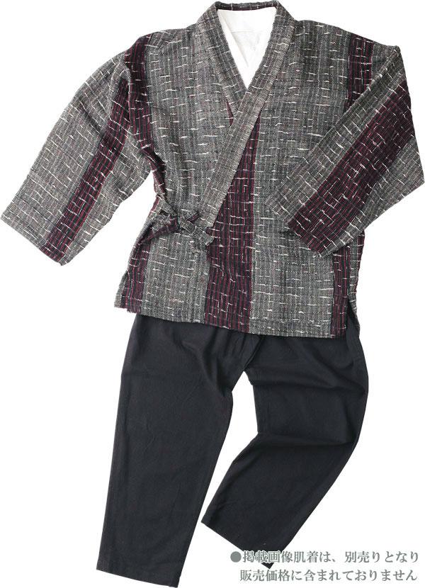 【樹亜羅-一杢】作務衣-綿100%グレー系黒赤ストライプ 寛-8