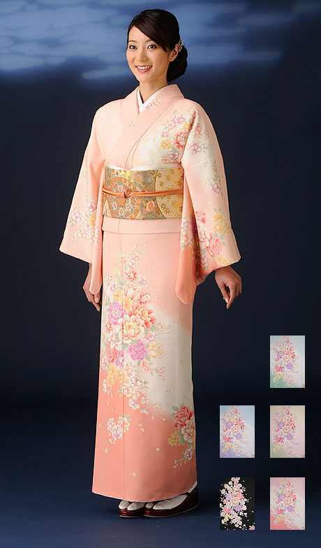 ワンランク上の上品な色柄が美しさをより引き立てます七五三・正月・入学・お宮参りなど 高級-仕立て上がり洗える着物 訪問着 kimono-A 5色