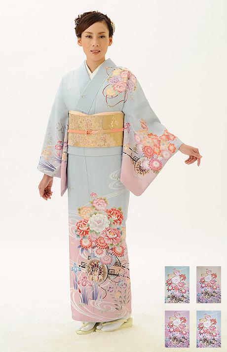 高級-仕立て上がり洗える着物 訪問着 kimono-B 4色