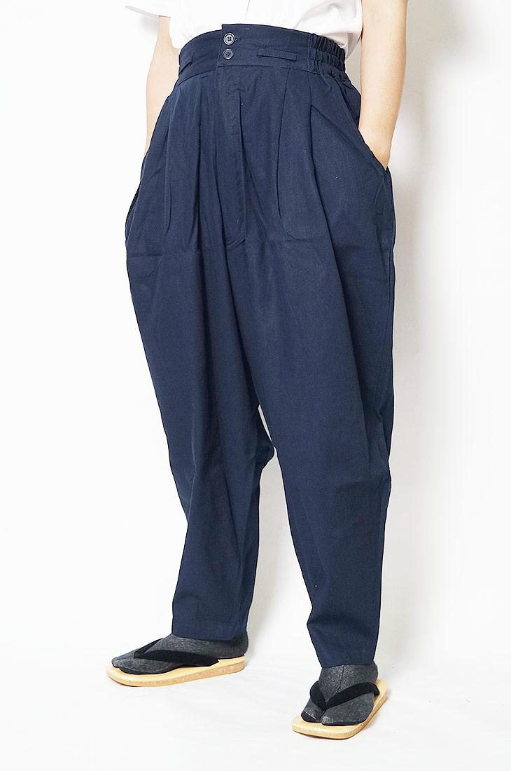 作務衣 パンツ かく宗 綿100% 作務衣ゆったりパンツ 紺 S/M/L/LL 作業パンツ もんぺ ズボン
