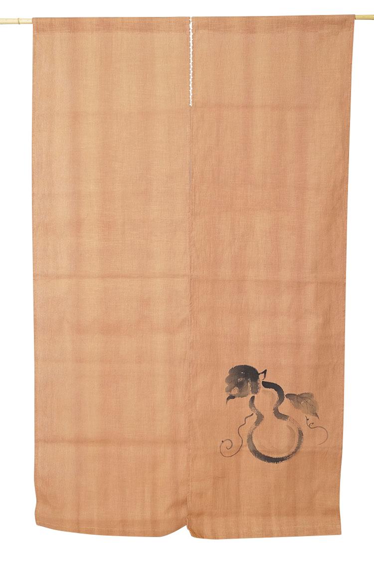 暖簾 のれん 綿100% 柿渋 慈 日本製 150cm n-7167 [間仕切り カーテン のれんロング パーテーション]