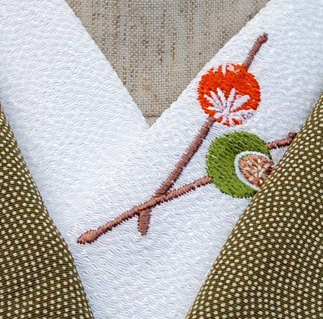 花かんざし☆刺繍 ひめ吉オリジナルデザイン☆ワンポイント半衿☆「配送について」をお読みください☆ゆうパケットは、日時指定できません☆