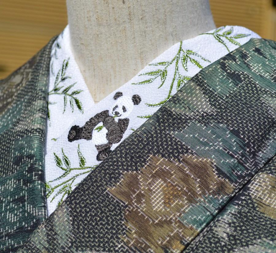 パンダ☆刺繍 半衿 ひめ吉オリジナルデザイン☆パンダ大好き必須アイテム 動物☆こだわり半襟☆「配送について」をお読みください。ゆうパケットは日時指定できません、ポスト投函です。