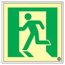 緑十字/(株)日本緑十字社 高輝度蓄光避難口誘導標識 210×210×7mm SUC-P010 379110