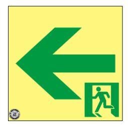 緑十字/(株)日本緑十字社 高輝度蓄光避難誘導ステッカー標識 非常口← 120×120 S級認定品 SSN962 364962
