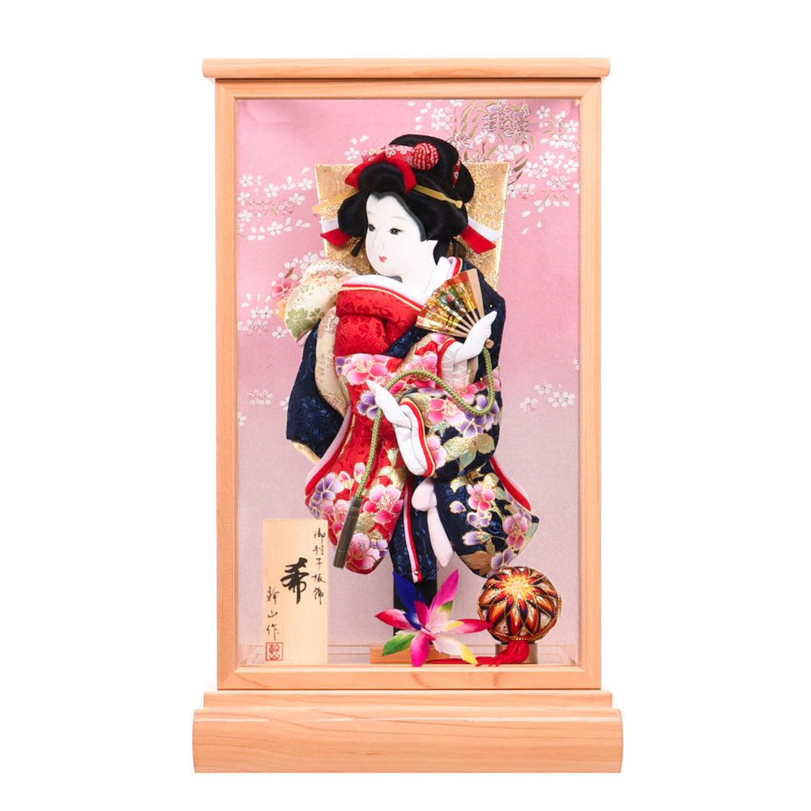 羽子板 10号希 檜(ひのき) 紺赤 匠一好 正月飾り 送料無料