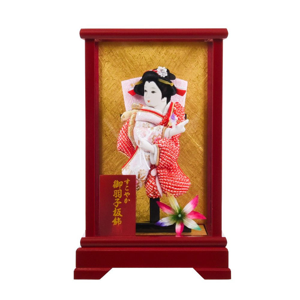 羽子板 ガラスケース 匠一好作【桜春 6号(赤)】コンパクト羽子板 送料無料