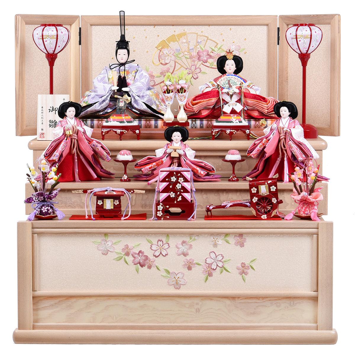 雛人形 収納台 五人飾り 三段飾り 三五 引き出し収納台5人飾 雛聖 送料無料