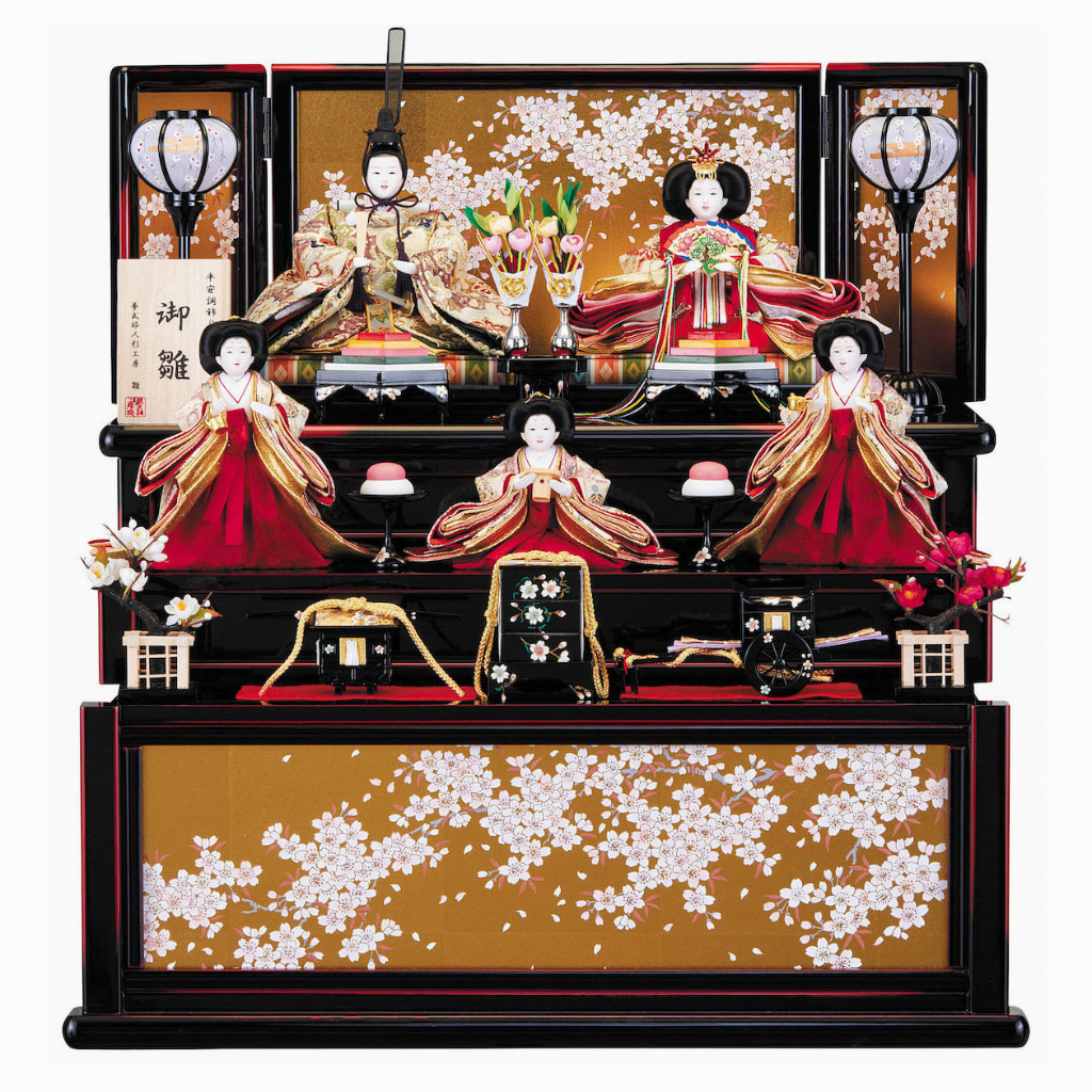 雛人形 引き出し収納台 芥子五人飾り 雛聖作 送料無料