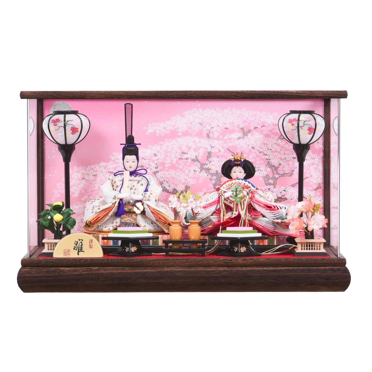 雛人形 芥子二人 アクリルケース入親王飾り 焼桐 送料無料