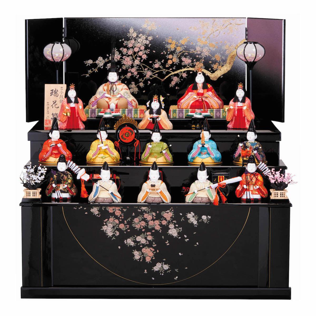 木目込人形 収納セット 真多呂 芙蓉雛 15人飾り 送料無料