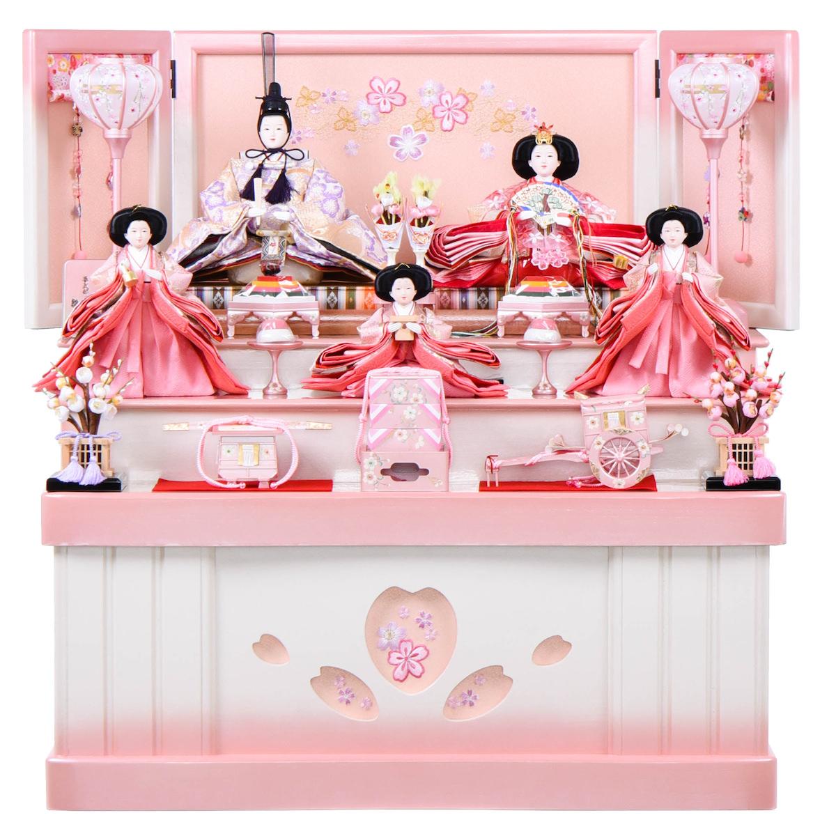 雛人形 ひな人形 カワイイ【収納台 ピンク五人飾り 三段飾り】 三五 かぶせ式収納台5人飾 雛聖 可愛い