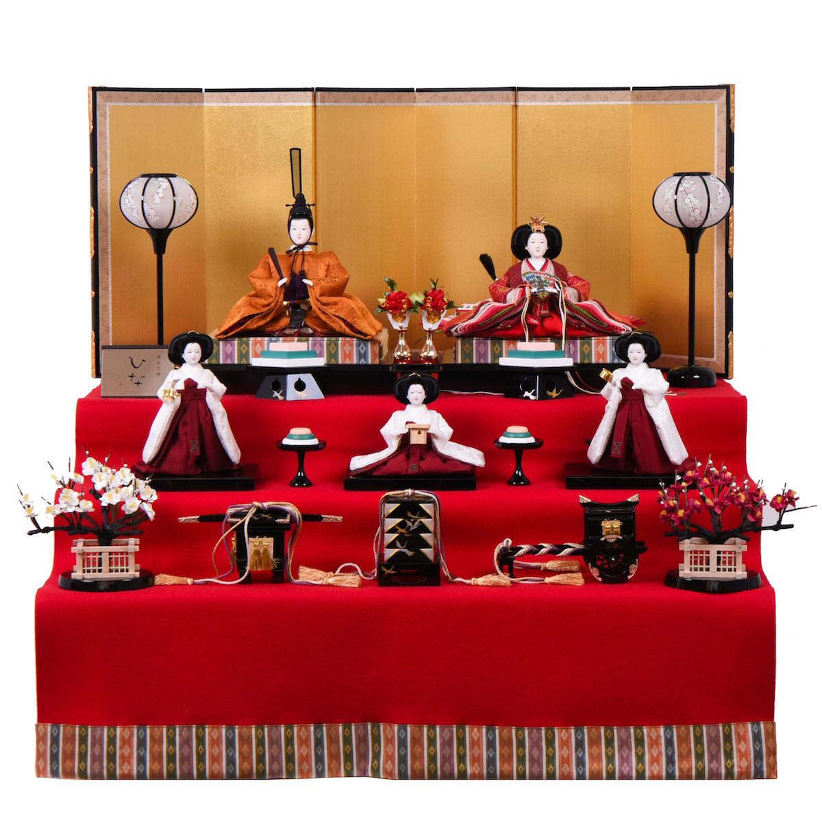 雛人形 三五 収納台5人飾 清水久遊(ひいな) 正絹桐竹鳳凰文 三白官女 送料無料