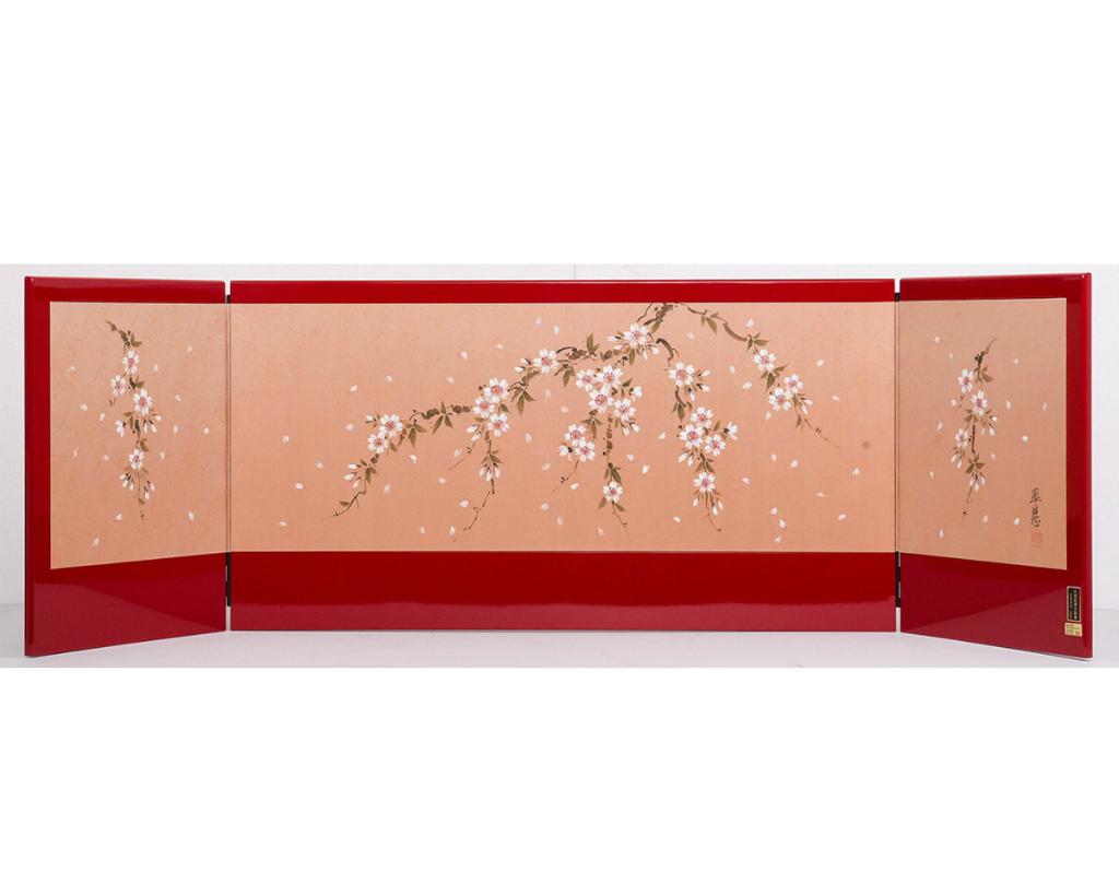 雛人形 単品屏風 赤桜 三曲屏風 送料無料
