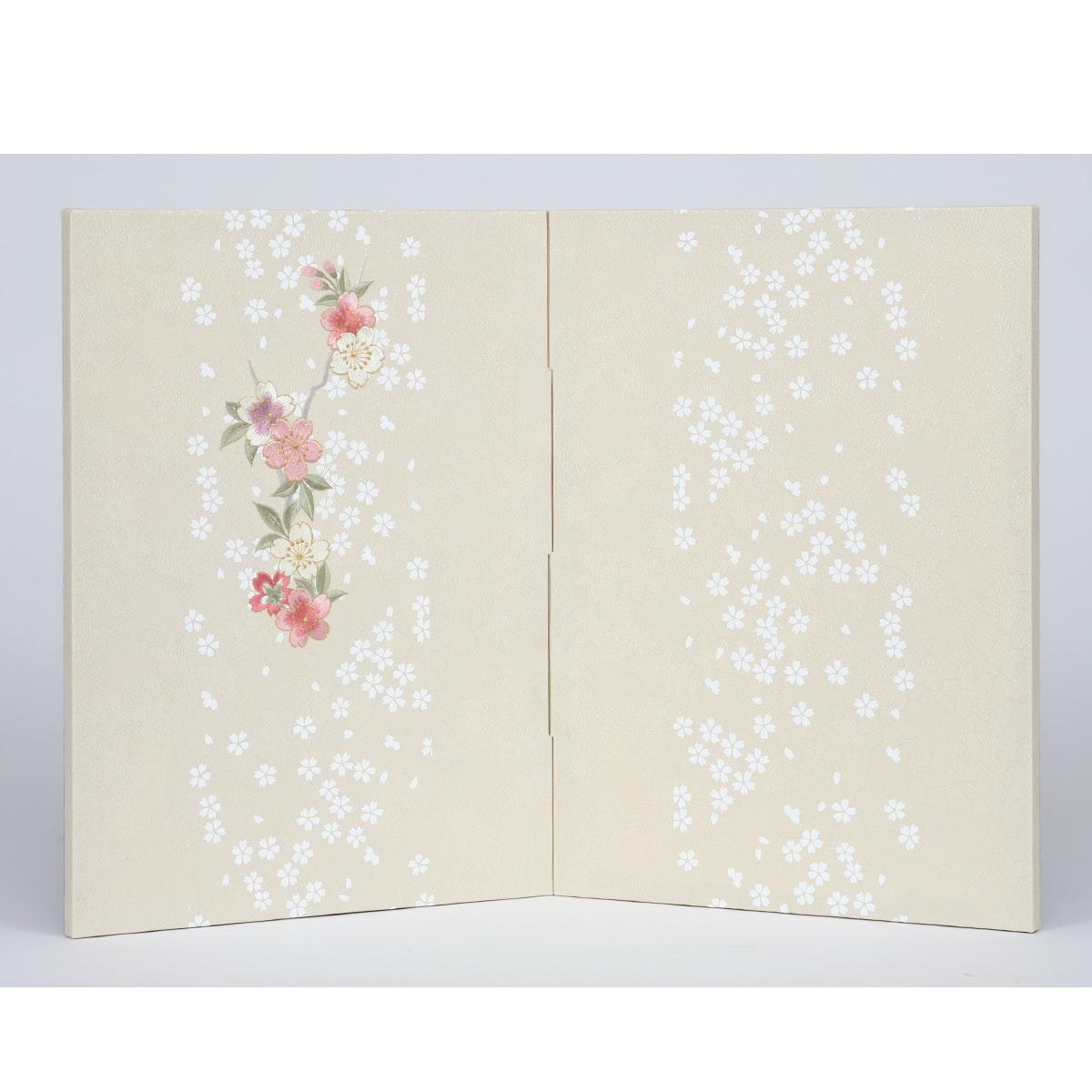 雛人形 単品屏風 二曲屏風 刺繍桜 送料無料
