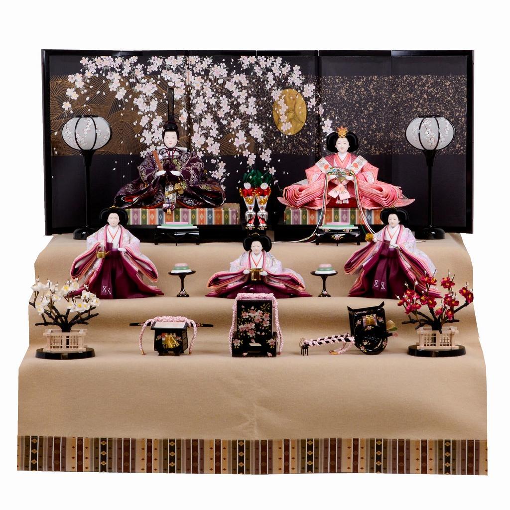 雛人形 三五 桐収納台5人飾 西陣金襴 ひな祭り 送料無料