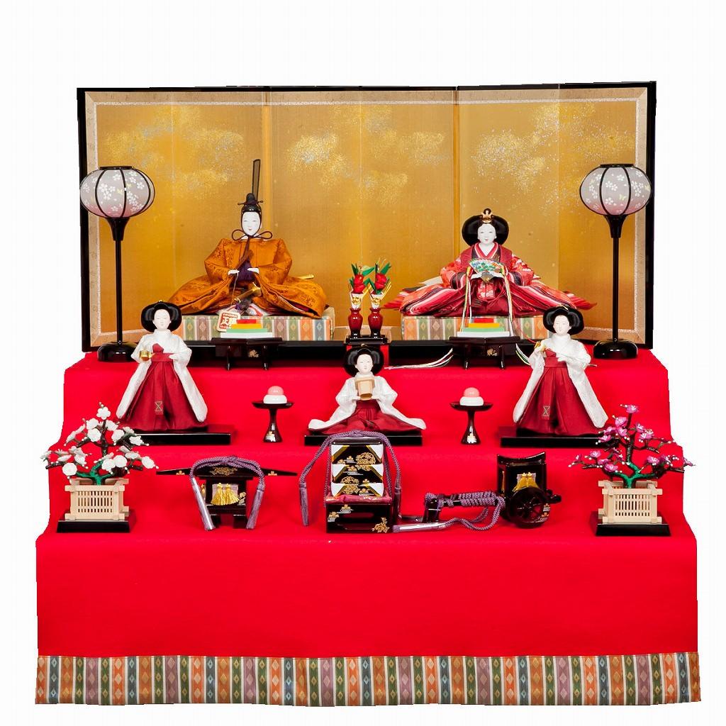雛人形 三五 収納台5人飾 清水久遊(ひいな) 小宮雄峰 黄櫨染 三白官女 送料無料