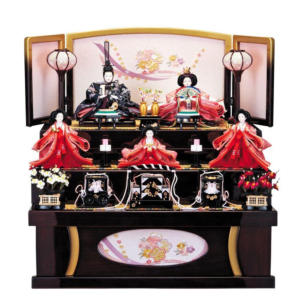雛人形 引き出し式収納台 芥子五人飾り 送料無料