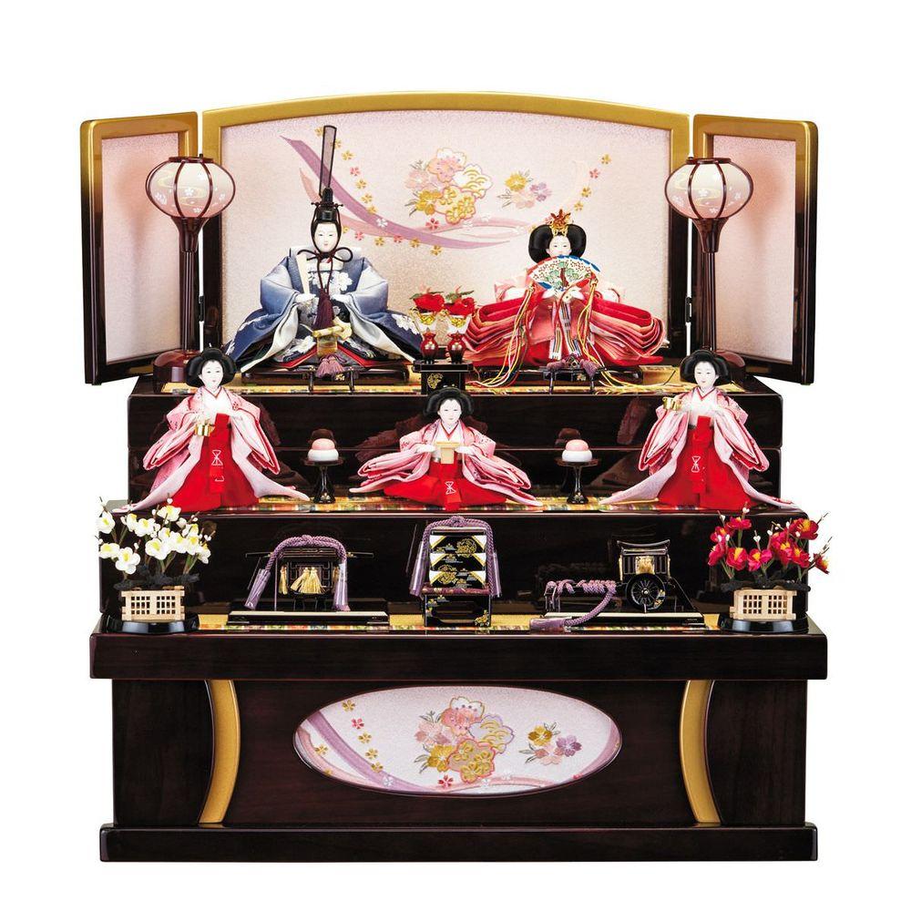 雛人形 引き出し式収納台 芥子五人飾り 桜刺繍 送料無料