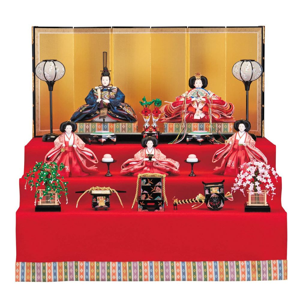 雛人形 三五 桐収納台5人飾 赤毛せん三段 送料無料