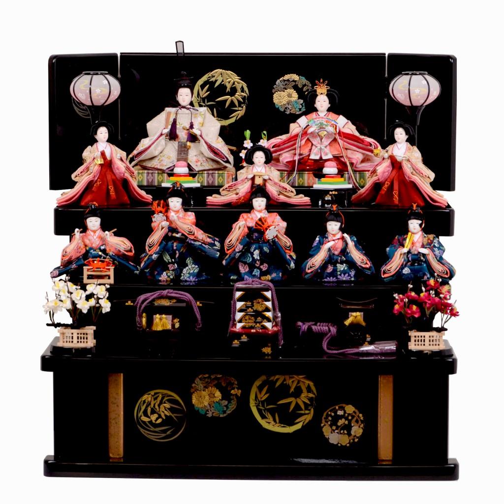 雛人形 芥子 10人飾 十人 桜刺繍 収納台 送料無料